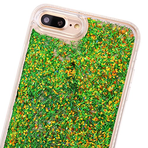 Cover iPhone 7Plus, CLTPY iPhone 7Plus Trasparent Liquidi Custodia con Flowing Sparkles Argento Shinny Glitter Scintillio Bling Polvere, Soft TPU Diamant Bumper Rigida Back Case per Apple iPhone 7Plus Verde