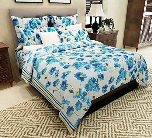 Home Candy Floral Cotton Double Bedsheet with 2 Pillow Covers - Blue (CTN-BST-339)