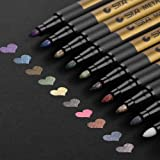 Premium Metallic Marker Pens, DealKits Set of 10 Assorted Colors Paint Pen for Scrapbooking Crafts, DIY Photo Album, Art Rock