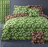 HBS - Juego de ropa de cama, diseño de píxeles cuadrados, para cama individual, edredón reversible con funda de almohada, verde y marrón
