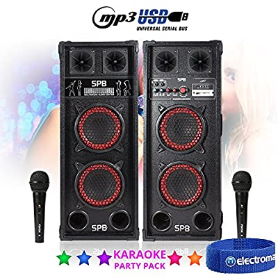 Electromarket KARAOKE PA SYSTEM *SPB26 USB* Disco Party Speaker Set with Microphones MP3 Cable