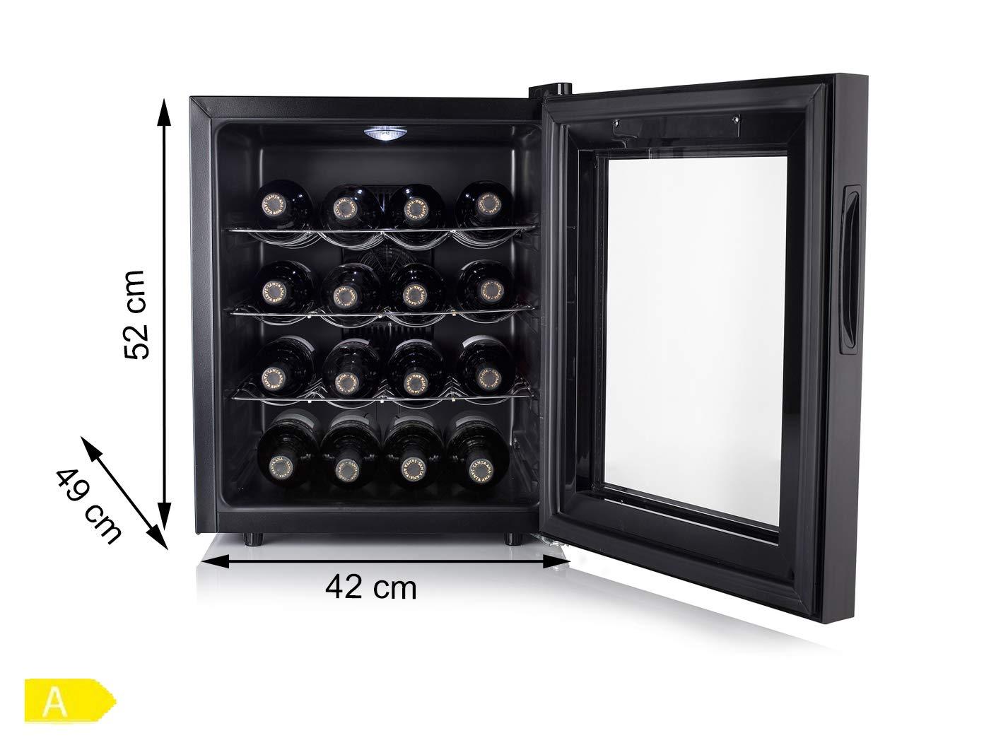 Kleiner-WEINKHLSCHRANK-fr-16-Flaschen-mit-WEINTHERMOMETER-Weinklimaschrank-48-Liter-LED-Anzeige-Touchfunktion