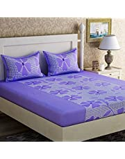 Sheethub Bedsheet for Double Bed(Premium 100% Cotton Double Bed Size Bedsheet with 2 Pillow Covers Size- 90/90'' inches) Pillow (45/70 cms)