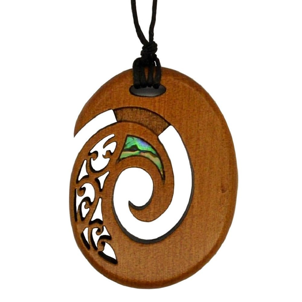 Maori Oval Spiral Pendant, Hand Carved in New Zealand from Native Rimu Wood with Paua Inlay