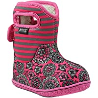BOGS Girls Pansy Stripe Rain Boot, Pink Multi, Size 8 M US Toddler