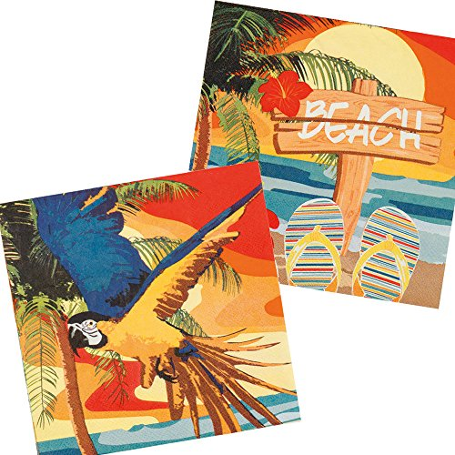 Strand & Sonne * für Eine Sommer-Mottoparty | Hawaii Gartenparty Beach Ara Hibiskus Motto Party Napkins ()