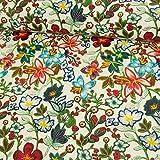 Stoffe Werning Lederimitat buntes Blumenmuster weiß