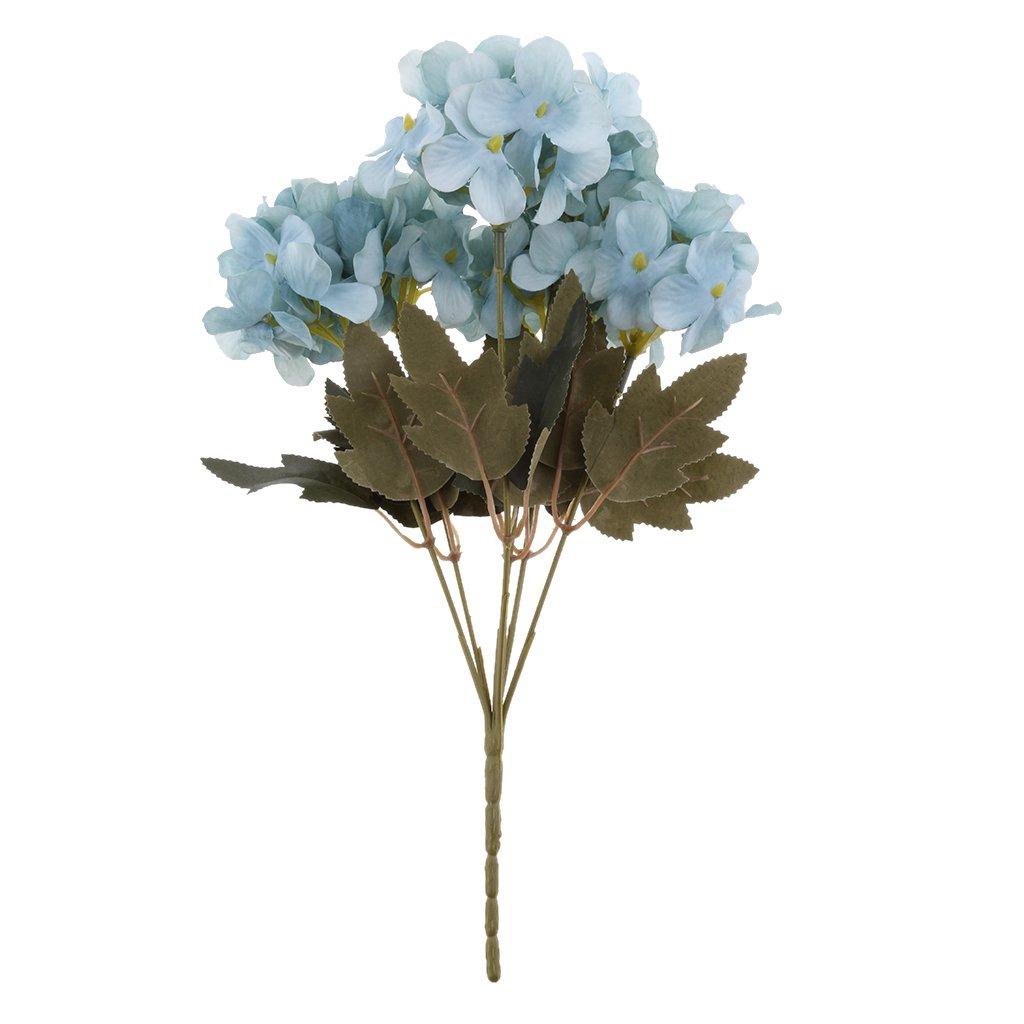 MagiDeal 6 Cabezas de Flores Artificiales Hortensia Floral Decoración Bouquet – Azul