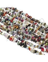 Neerupam Collection multicolor naturales múltiples piedras gemstone granos de chip sin cortar 33 pulgadas 10 líneas mechón