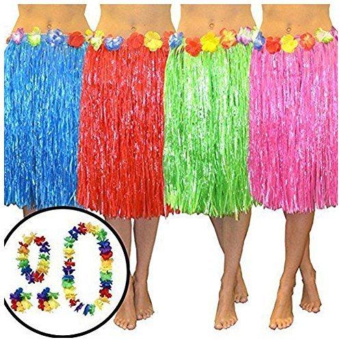 Hawaiian Kostüm Damen - Wholesale Solutions AHula Hawaiian Kostüm Bastrock Mit Blume Accessoires, Erwachsene Kostüm - Rosa