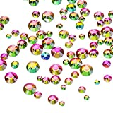 1000 Pieces Multi AB Color Flat Back Rhinestones Round Crystal Gems 2 mm - 5 mm, 5 Sizes