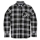Herren Elfenbeinfarben Check Shirt Long Sleeve Brave Soul Weiche gebürstete Baumwolle mit Classic Point Kragen und Brusttasche Gr. L, schwarz / weiß