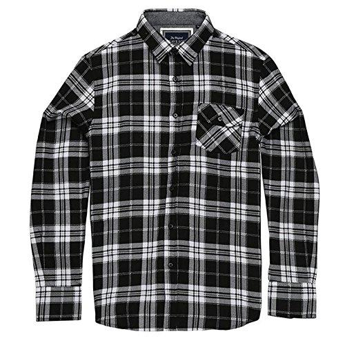 Brave Soul Herren Elfenbeinfarben Check Shirt Long Sleeve Weiche gebürstete Baumwolle mit Classic Point Kragen und Brusttasche Gr. Large, schwarz/weiß (Blau Royal Gestreifte Weste)