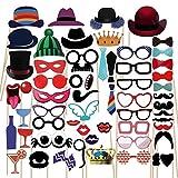 Gudotra 90pcs PHOTO BOOTH Accesorios para Bigotes Labios Corbatas Gafas Sombreros para Partido Boda Cumpleaos Graduación Mascarada Navidad Tamaño Suficiente