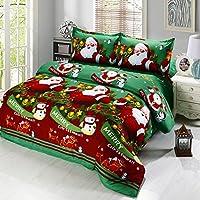 Anself - Juego Ropa de Cama 4 Piezas de Navidad,Algodón (1xfunda de cama 240*270cm,1xfunda nórdica 230*250cm,2xfunda de almohada 50*75cm)