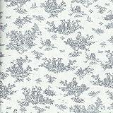 Tela toile de jouy 'La Petite Toile De Jouy' (GRIS sobre un fondo blanco crema) - 100% algodón suave | ancho: 155 cm (1 metro)