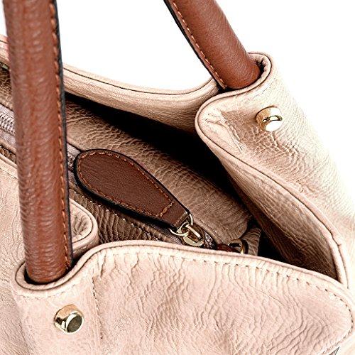 UTO Damen Handtasche Set 3 Stücke Tasche PU Leder Shopper klein Schultertasche Geldbörse Trageband schwarz Apricot