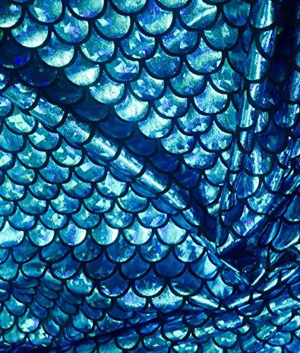 Jersey sirène Échelle Tissu Poisson Tale Foil Spandex Lycra Tissu élastique 2 directions 150 cm de large 7 couleurs (vendu au mètre)