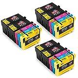 JIMIGO Cartouches d'encre 27XL Produit compatible pour Epson 27 Compatible avec Epson WorkForce WF-3620DWF WF-7610DWF WF-3640DTWF WF-7110DTW WF-7620DTWF (6 Noir, 3 Cyan, 3 Magenta, 3 Jaune)