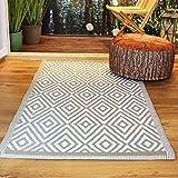 Kamaca Outdoor Teppich Raute für Terrasse Balkon Camping Garten - 90 x 150 cm - pflegeleicht robust witterungsbeständig - auch fürs Badezimmer und alle Nassräume geeignet (Beige)