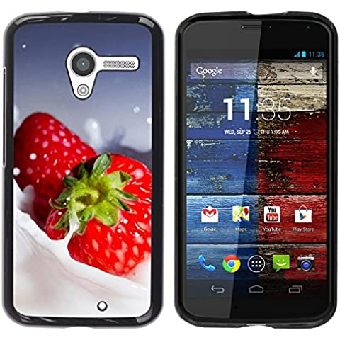 TORNADOCOVER Unico Immagine Rigida Custodia Case Cover Protezione Per SMARTPHONE Motorola Moto X 1 1st GEN I XT1058 XT1053 XT1052 XT1056 XT1060 XT1055 - macro frutta cremoso fragole - Cremoso Fragola