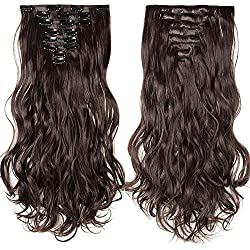 Rajout Extension a Clip 8 Bandes Ondulé - Extensions Cheveux Clips - Clip in Hair Extensions - 43cm(17 pouces) - Marron Foncé