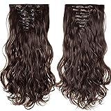 Rajout Extension a Clip 8 Bandes Ondulé - Extensions Cheveux Clips - Clip in Hair Extensions - 60cm(24 pouces) - Marron Foncé