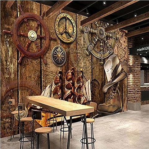 250 cmX 175 cm Retro nostalgische Holzbrett Ruder Kreuzfahrt Thema Restaurant Hintergrund Wand angepasste Großes Wandbild Seidentapeten, 250 cmX 175 (250 Thema)