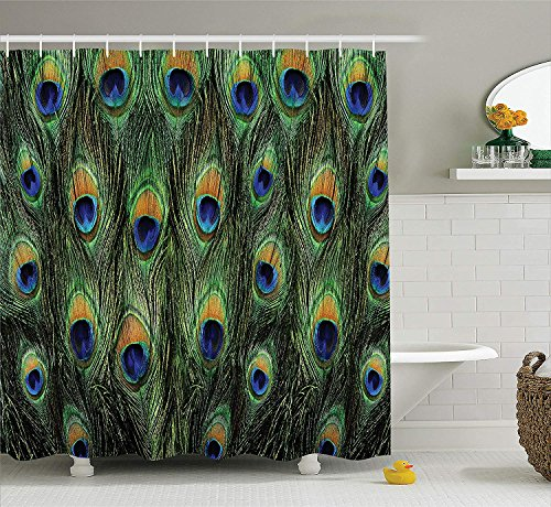 JIEKEIO Peacock Decor Shower Curtain Set, Stunning Peacock Tail Feathers Tropical Exotic Animals Close-up Picture Artwork, Bathroom Accessories, 60 * 72inch Extralong, Green Mustard Navy -