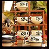 Unravel India Bamboo Print Ceramic Cup and Saucer, Off White and Black - Set of 6