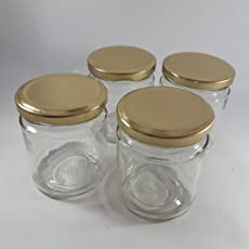Eliora Round Medium Glass Jars with Golden Color Air Tight Metal Lid, 200ml (Transparent, B010318_3)-Set of 4