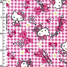 Tela infantil Sanrio Kiyohara - Hello Kitty Ribbon Cherry Rojo x10cm