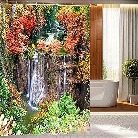KKLL Shower curtain Jungle Waterfall 3D printed waterproof shower curtain, bathroom partition ,