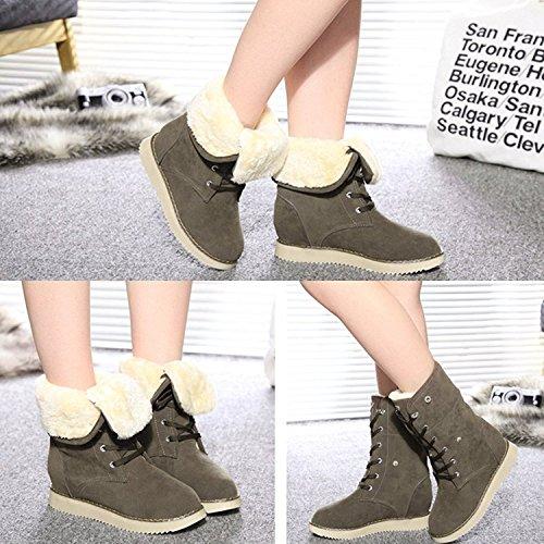 Minetom Femme Hiver Chaud Bottes de Neige Décontractée Chaussures à Lacets Talon Plat Toison Doublé Martin Bottes Kaki Foncé