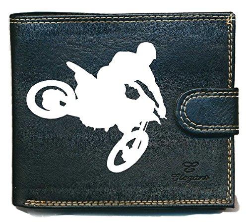Portafoglio da uomo, con porta monete e scomparto per le tessere, motivo: motocross