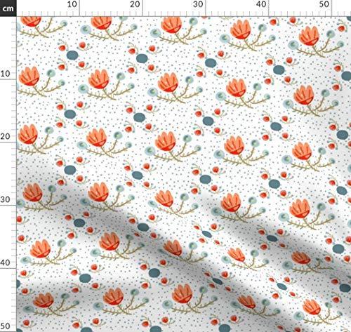 Aquamarin, Blumen, Paisley, Modern, Quilten Stoffe - Individuell Bedruckt von Spoonflower - Design von Jdeebella Gedruckt auf Baumwollstoff Klassik -
