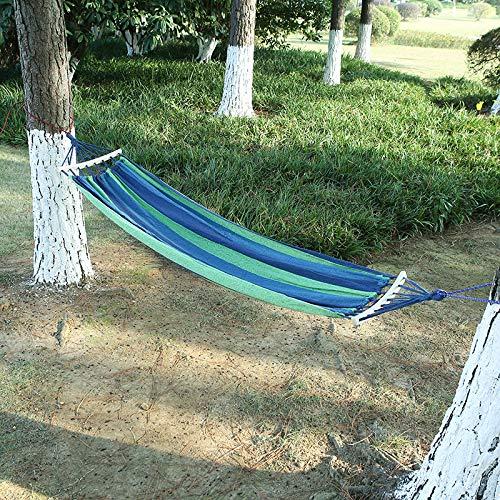 Jun7L Outdoor-Baumwollhängematte, Tragfähigkeit 200 kg, Gartenhängematte mit Holzspreizstangen und Tragetasche, perfekt für Hof, Camping, Strand und Terrasse, Blaue Streifen 2x1.5cm
