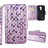 LG K10 2016 Version Wallet Case, LG K10 Cover Case, Rosa Schleife Sparkle Bling Glitter PU Leather Butterfly Painting Pattern Embossed Floral Flip Folio Magnetic Snap Leather Phone Case Protective Case Cover Shell Skin for LG K10 2016 Release (5.3