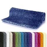Spirella Badteppich Badematte Duschvorleger Mikrofaser Hochflor | Flauschig | Rutschhemmend | Geeignet für Fußbodenheizung | 70x120 cm | Marineblau
