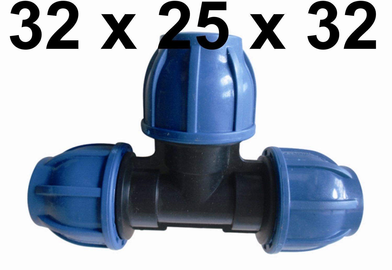 Großartig T-Stück 32 mm auf 25 mm für PE - Rohr -- PP Verschraubung Fitting  OA47