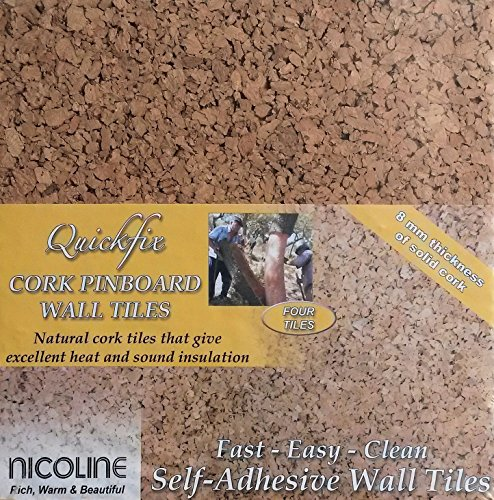 Price comparison product image Quickfix 30x30cm Cork Pin-Board Tiles Pk4