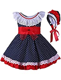 26747c778 Lajinirr Girls Summer Blue Polka Waltz Dresses with Headband
