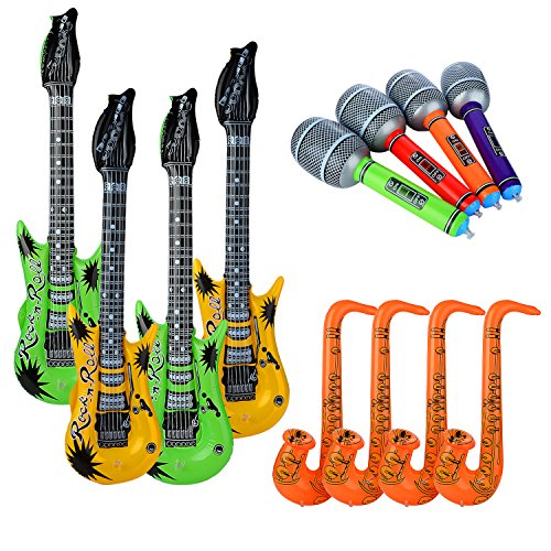 PovKeever 12PCS aufblasbare Gitarre, Saxophon, Mikrofonspielwaren für Partei-Versorgungsmaterialien oder Dekorationen (gelegentliche Farbe) (Lustige Aufblasbare Mikrofon)