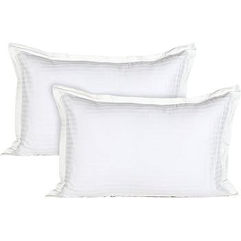 Ahmedabad Cotton Luxurious 2 Piece Sateen Pillow Cover Set - 45cm x 69cm, White