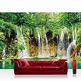 Fototapete 254x184 cm PREMIUM Wand Foto Tapete Wand Bild Papiertapete - Natur Tapete Wasserfall See Bäume Blätter grün - no. 1617