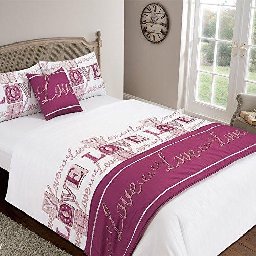 Love You Bettdecke Set Bett in einer Tasche Kissen Bezug Runner Spannbetttuch, Polyester, himbeere, 135 x 1 x 200 cm (Bett In Tasche Bettdecken)