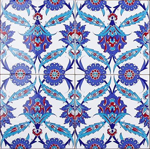 Basal - Bunte türkische Wandfliesen im 20x20, 1 Packung (4 Stück), ideal für die Küche oder das Badezimmer.