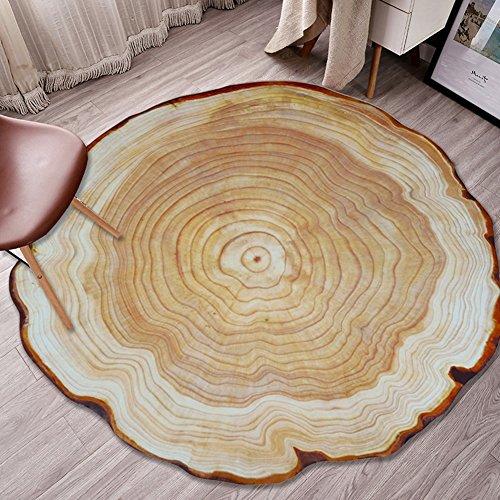 XLIGHT 3D Printed Annual Ring Teppich Runde geknackt Holz Teppiche Schlafzimmer Wohnzimmer Studie Rutschfeste Teppich (Color : A, Size : 160 * 160CM) -