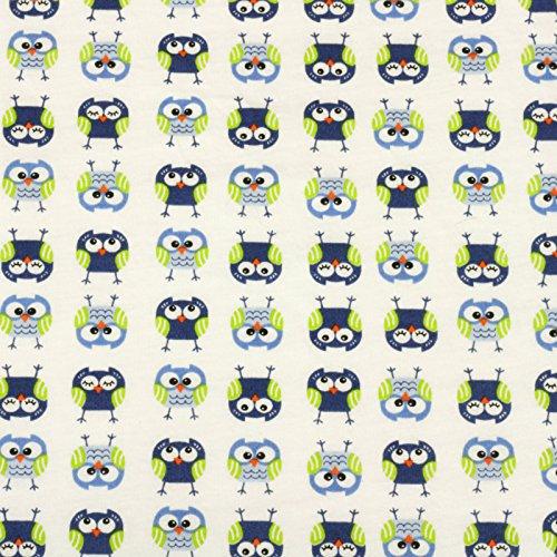 Blau Stoff Baumwolle (Jersey Stoff 100% Baumwolle 165 cm Breit (100 x 165 cm, Eule Blau Grün))