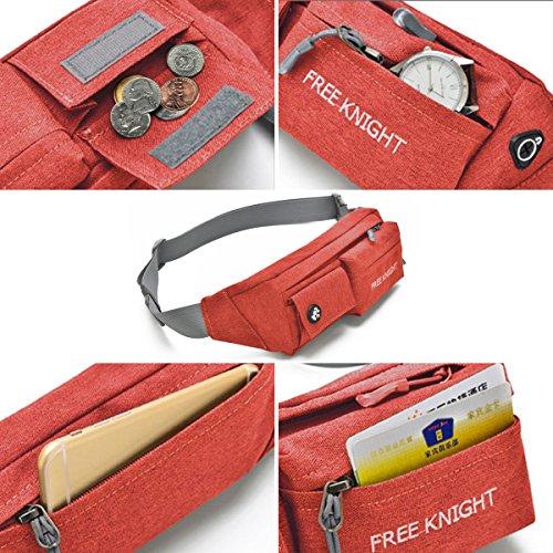 HongXing Taille Tasche Pack Slim wasserabweisend Reise Bauchtasche Running Gürtel für Reisen Radfahren Wandern Camping Rot